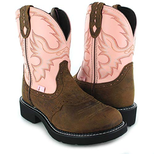 Santiags femme mi basses bicolores FB Fashion Boots, talon 3,5 cm marron et rose